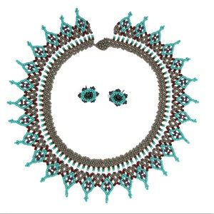 Beaded Handmade Necklace Colombian Turquoise Color
